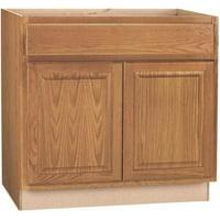 Hampton Bay 2478219 Hampton Assembled 36X34.5X24 In. Sink Base Kitchen Cabinet In Medium Oak