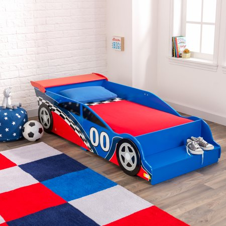 KidKraft Wooden Race Car Toddler Bed, Blue and Red, With Bed Rails
