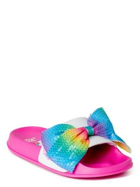 Nickelodeon Jojo Siwa Girls Rainbow Sequin Bow Slide Sandals