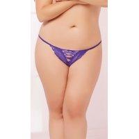Plus Size Lace-up Floral Lace Thong, Plus Size Lace-up Thong
