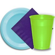 """50 Light Blue Plastic Plates (9""""), 50 Lime Green Plastic Cups (12 oz.), and 50 Purple Paper Napkins, Dazzelling Colored Disposable Party Supplies Tableware Set for Fifty Guests."""