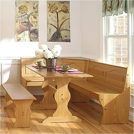 Pemberly Row Breakfast Corner Nook Table Set in