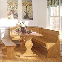 Pemberly Row Breakfast Corner Nook Table Set in Natural