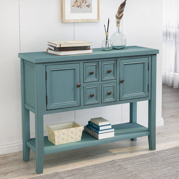 Buffet Sideboard Console Table With 4, Console Table With Storage Bins