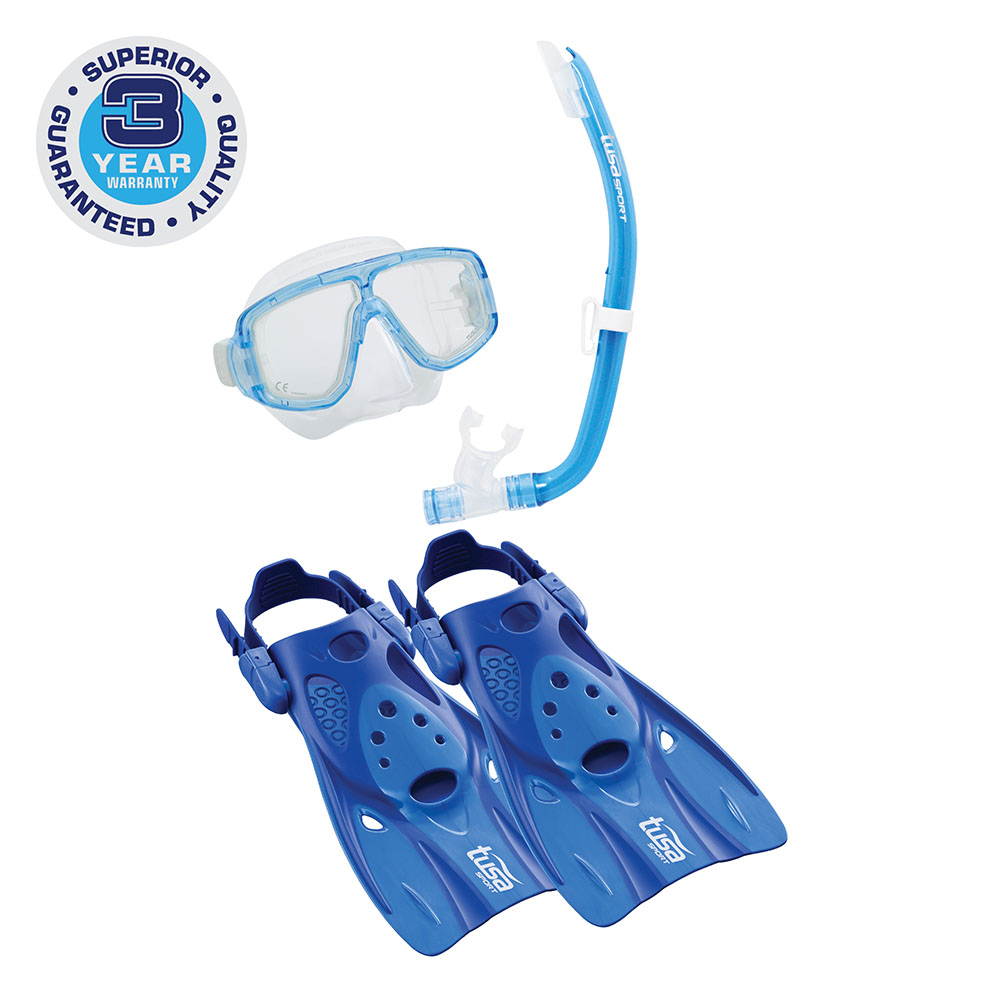 TUSA Sport Adult Platina Hyperdry Mask, Snorkel, & Fin Travel Set