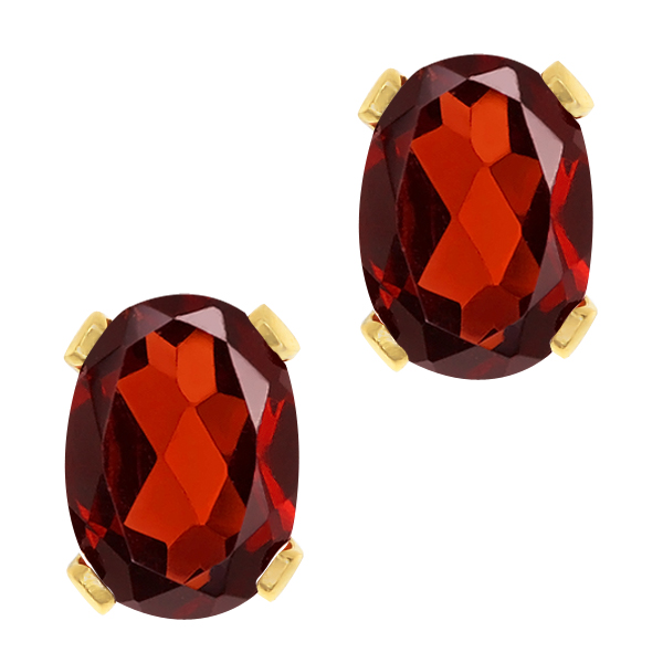2.80 Ct Oval Red Garnet Gold Plated 4-prong Stud Earrings 8x6mm
