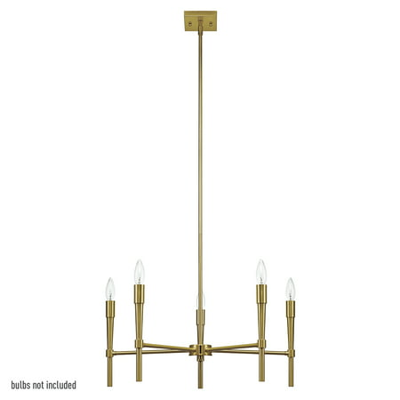 Globe Electric Elena 5-Light Brushed Brass Chandelier, 65611