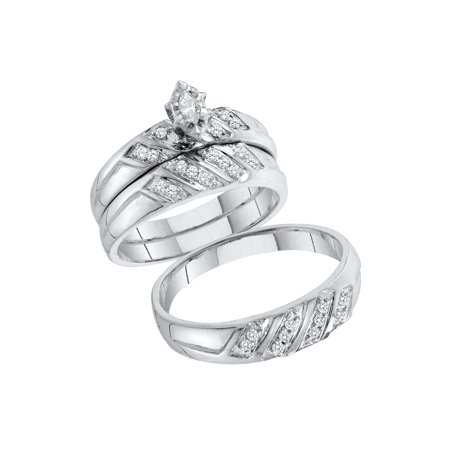 Sizes - L = 7, M = 10 - 10k White Gold Trio His & Hers Marquise Diamond Solitaire Matching Bridal Wedding Ring Band Set (1/4 Cttw)