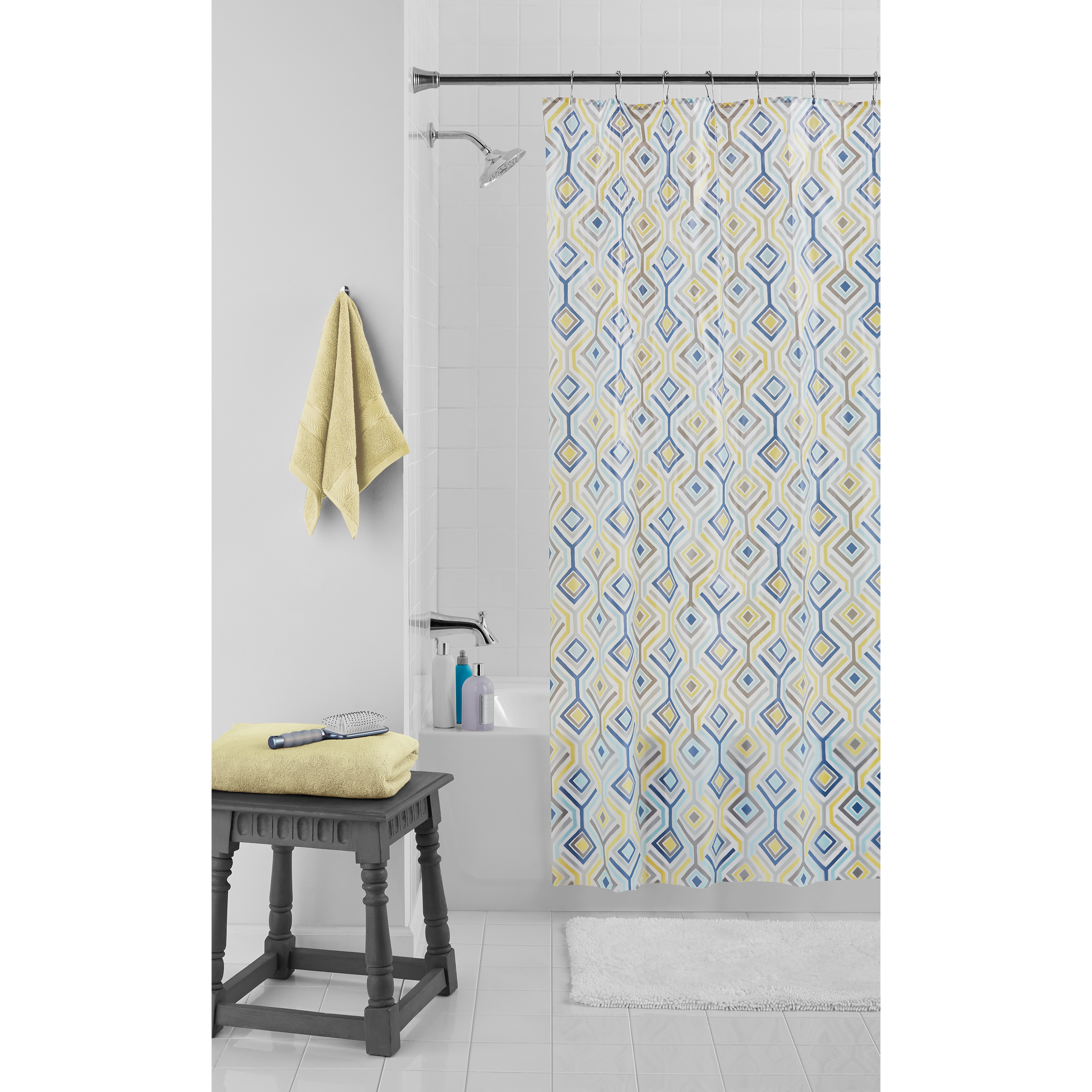 Product Image Mainstays Diamond Shower Curtain Set With Metal Hooks, 13  Pieces