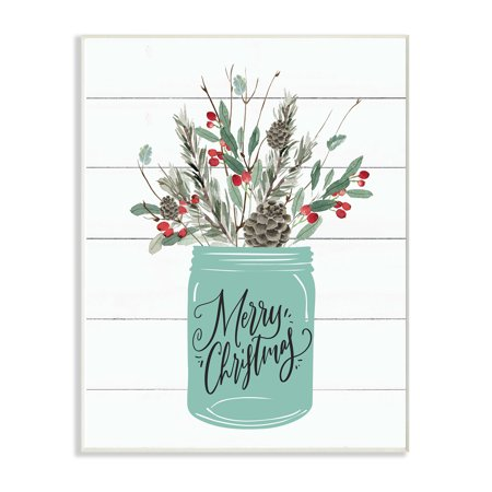 The Stupell Home Decor Collection Holiday Merry Christmas Mason Jar with Holly and Pinecones Wall Plaque Art, 10 x 0.5 x 15