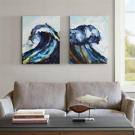 "(Set of 2) 22"" x 28"" Liquid Waves Gel Coat Canvas Blue"
