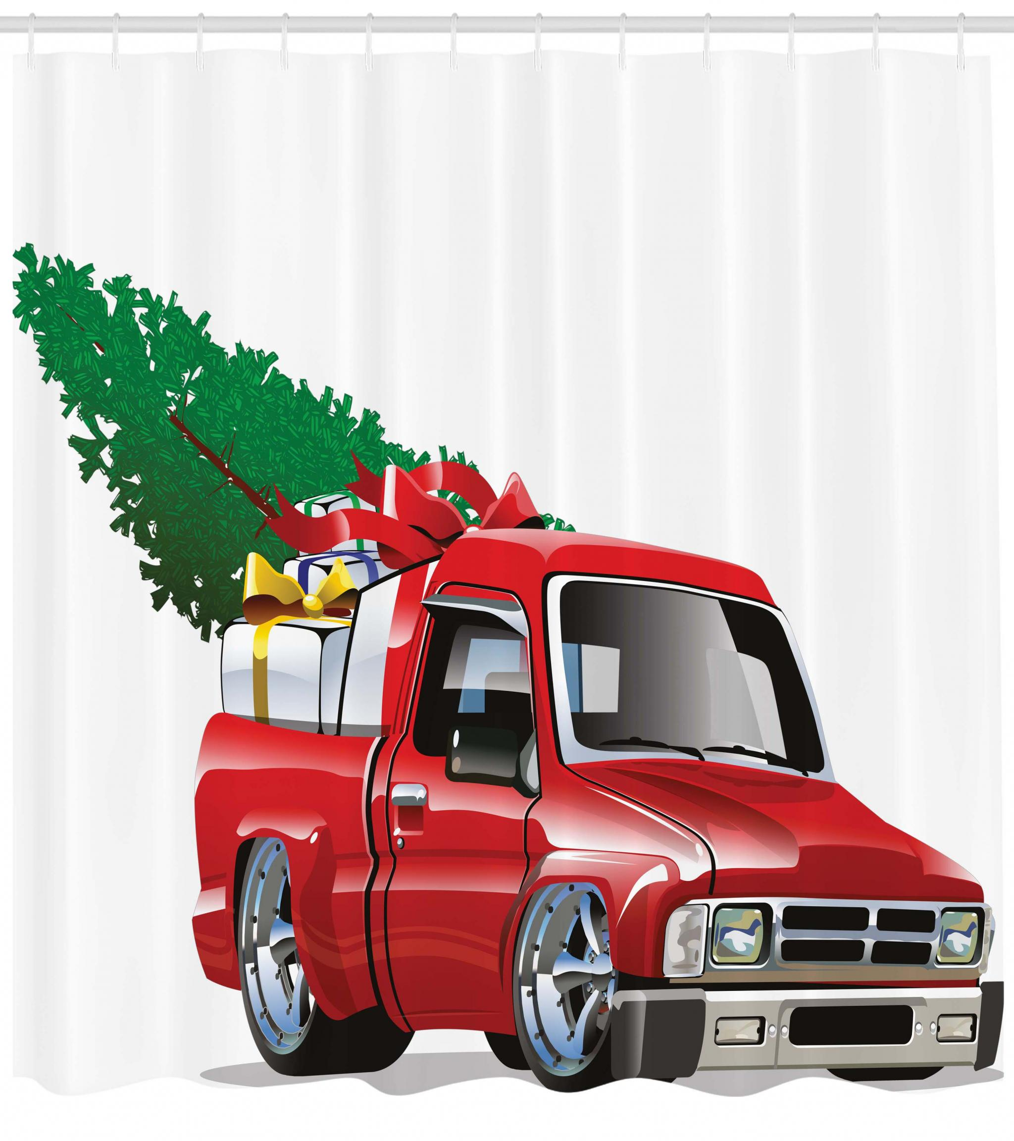 Christmas Shower Curtain, Red Pickup Truck With Big Gift