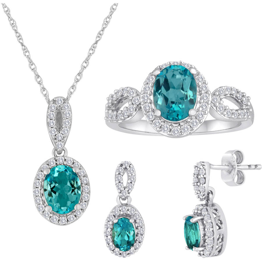 "Genuine Blue Topaz and Cubic Zirconia Sterling Silver 3-Piece Boxed Set with Earring, Ring and Pendant, 18"" by Generic"