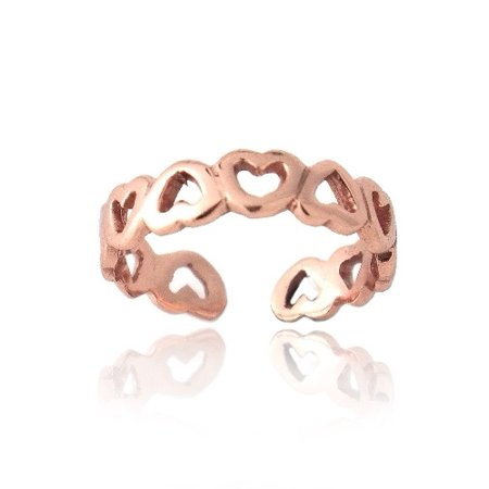 Open Filigree Heart - 18K Rose Gold Over Sterling Silver Filigree Open Hearts Toe Ring