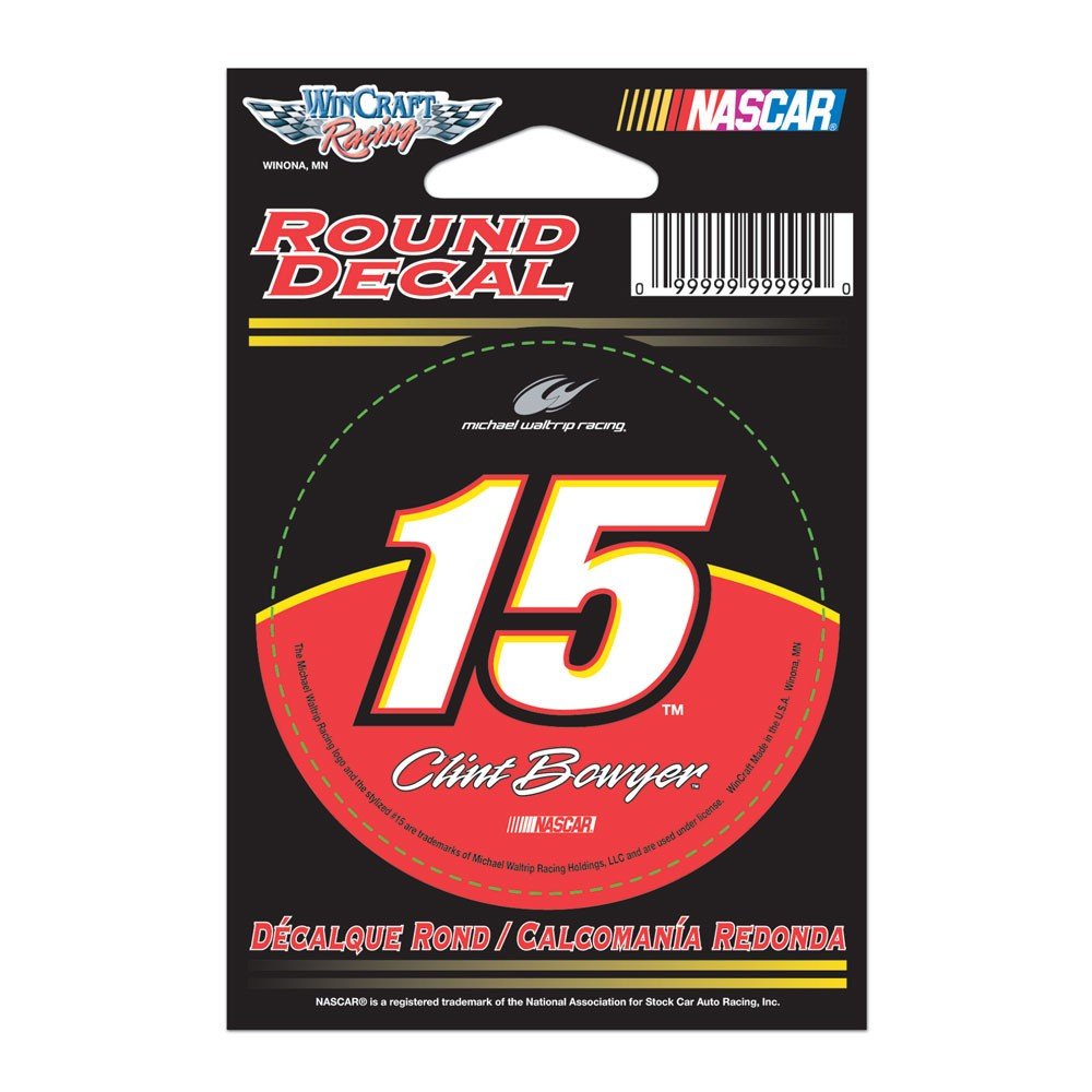 Clint Bowyer Official NASCAR 3 inch  Round Vinyl Car Decal by WinCraft