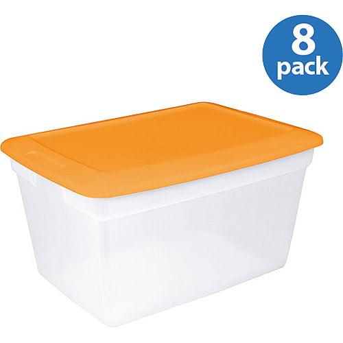 Sterilite 58 Qt Orange Set Of 8 Walmartcom