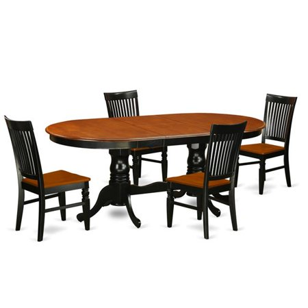 East West Furniture PLWE5-BCH-W Dining Room Set with a Dining Table & 4 Wood Seat Kitchen Chairs, 5 piece - Black & Cherry ()
