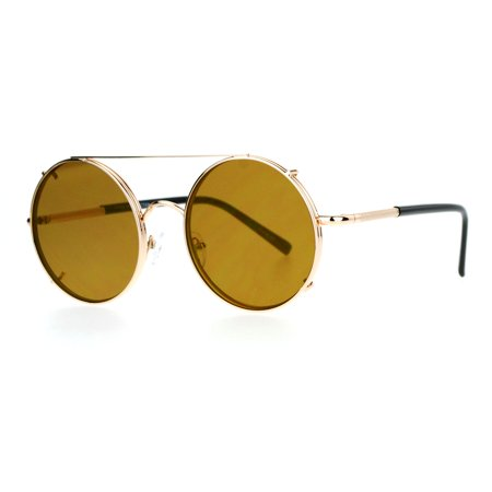 SA106 Metal Round Circle Lens Detachable Clip On Sunglasses Gold Brown](great deals on sunglasses)