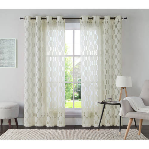 VCNY Home Aria Jacquard Grommet Top Window Curtain Panel, Multiple Colors and Sizes