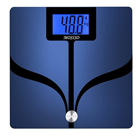 Mosiso Digital Bluetooth Scale  Smart Body Fat Monitor With Large Backlit Lcd  Measures 8 Parameters  Body Weight  Bmi   More  Body Analyzer Connected Smartphone App