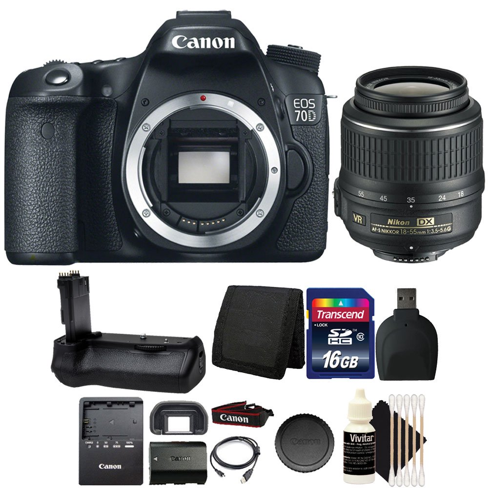 Canon EOS 70D 20.2MP Digital Camera with Battery Grip + 16GB Accessory Kit