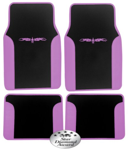 """Two Tone Synthetic Leather BLACK & PINK """"Superior"""" 4pc Universal Floor Mat Set for Cars / Trucks by Unique Imports"""