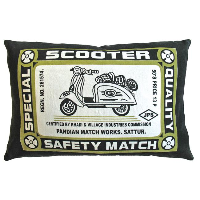 Koko Company 91578 Match Co- Pillow- 13X20- Cotton- Scooter Print- Olive-Black.
