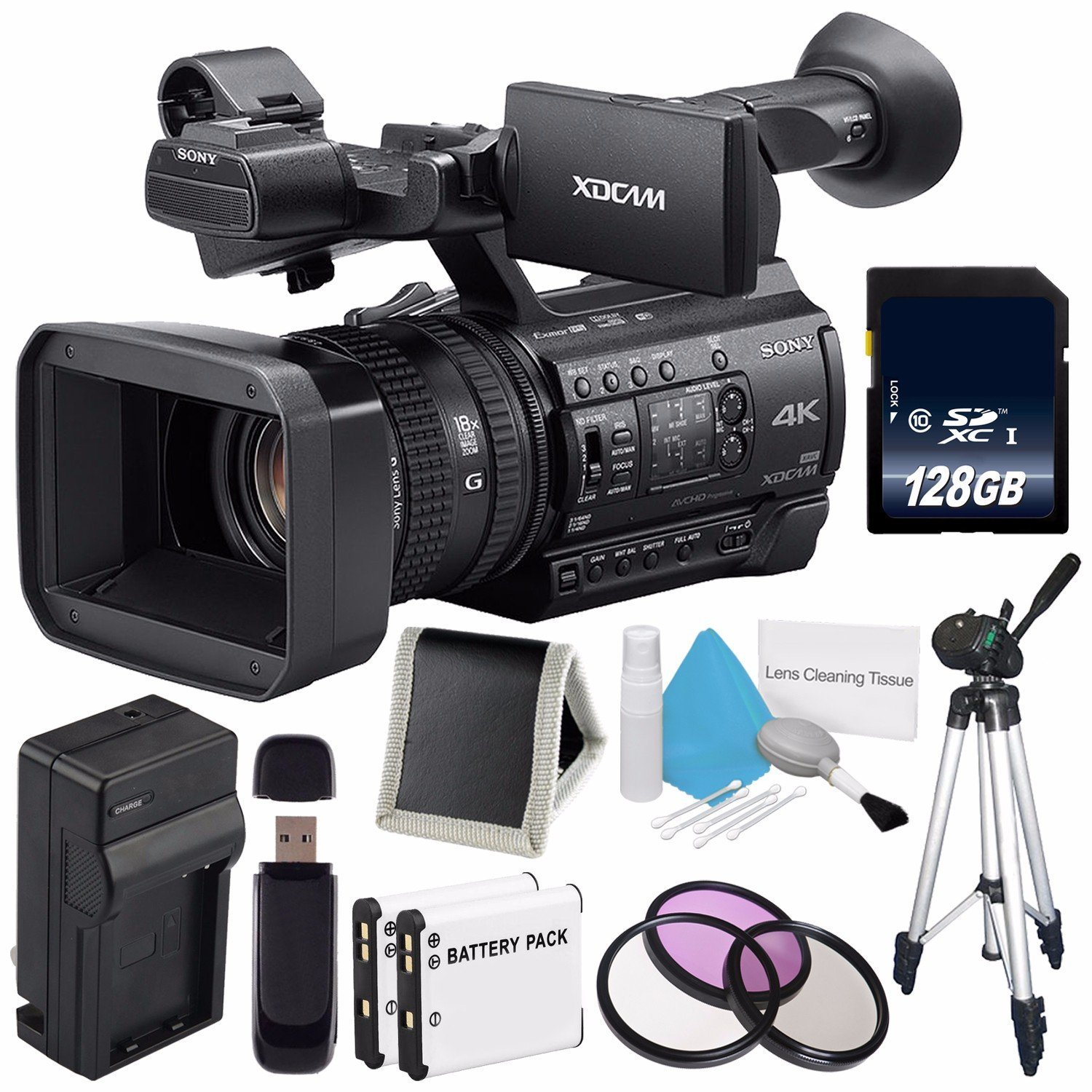 Sony PXW-Z150 4K XDCAM Camcorder (International Model) No Warranty + 128GB SDXC Class 10 Memory Card + NP-F970 Rechargeable Lithium Ion Battery + Charger Kit for Sony NP-F970 Bundle