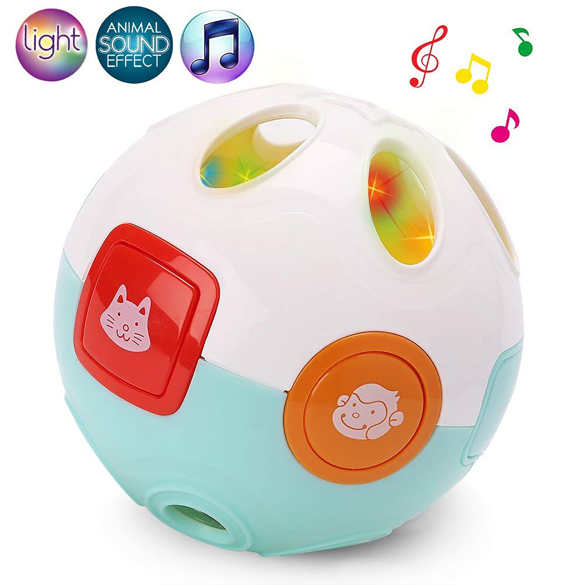 Baby Rolling Crawling Moving Learning Ball with Animals Sounds, Music and Light - Crawl Rattle Ball Toy for Infant Toddler Kids, Battery Included