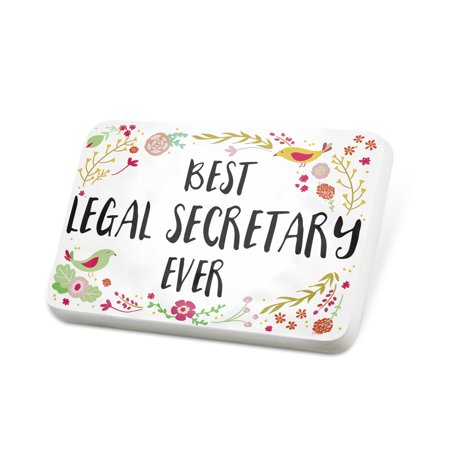 Secretary Pin (Porcelein Pin Happy Floral Border Legal Secretary Lapel Badge – NEONBLOND )