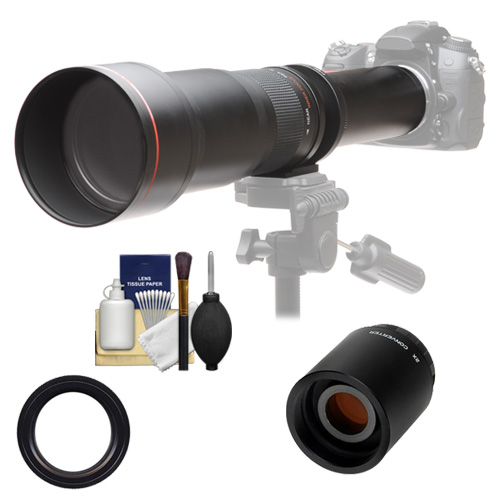 Vivitar 650-1300mm f/8-16 Telephoto Lens with 2x Teleconverter (=2600mm) Kit for Canon EOS Rebel SL1, T3, T3i, T5, T5i, 70D, 6D, 7D 5D Mark II III Cameras