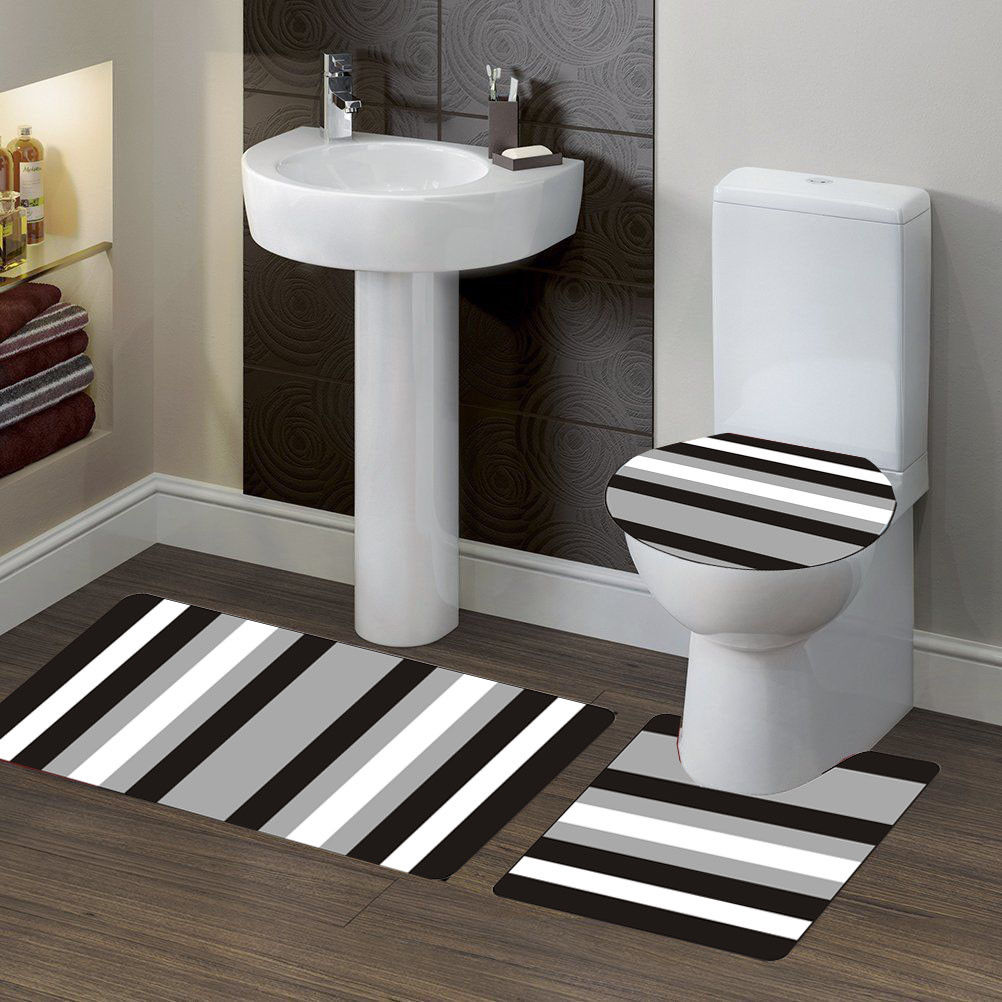 "3-PC (#7) Stripe Black HIGH QUALITY Jacquard Bathroom Bath Rug Set Washable Anti Slip Rug 18""x28"", Contour Mat 18""x18"" and Toilet Seat Lid Cover 18""x19"" with Non-Skid Rubber Back"