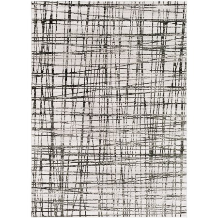 3.9' x 5.5' Crosshatch Patterned White and Black Rectangular Area Throw Rug