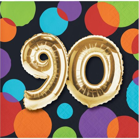 Creative Converting Balloon 90th Birthday Beverage Napkins, 16 ct](90th Birthday Tableware)