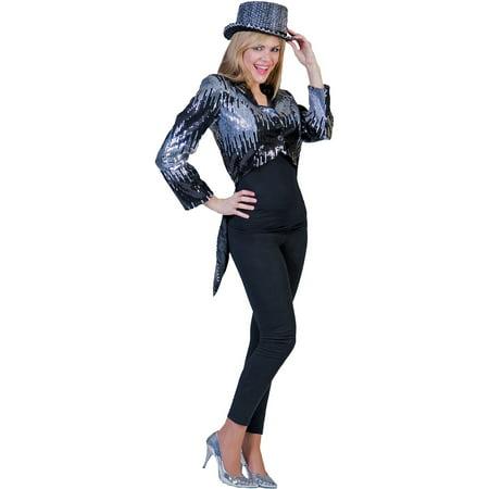 Silver Glitter Tailcoat Adult Halloween (Women's Tailcoat Costume)