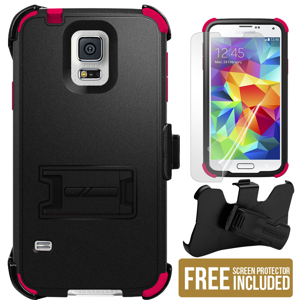 PINK TRI-SHIELD SKIN HARD CASE BELT CLIP HOLSTER STAND FOR SAMSUNG GALAXY S5