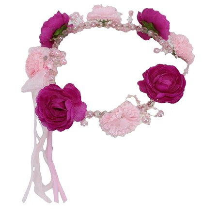 Play Wonder Crown - Tiara of Beads, Flowers & Ribbon - Shades of Pink Arrange...