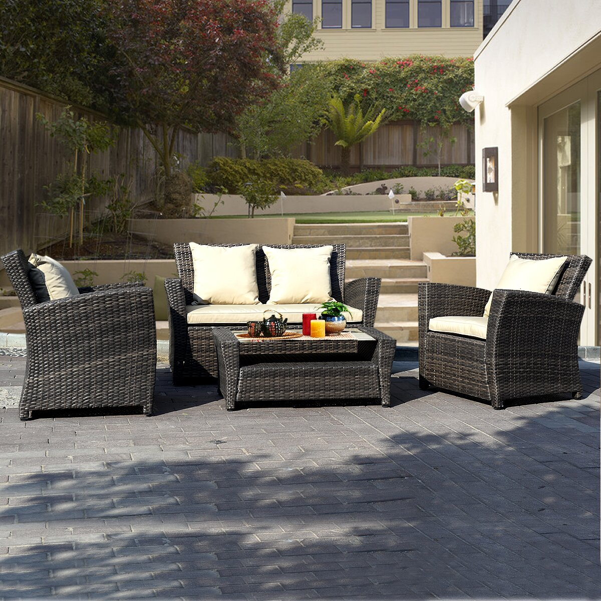 Gymax 4 PCS Wicker Rattan Patio Set Cushioned Furniture Seat Brown by Gymax