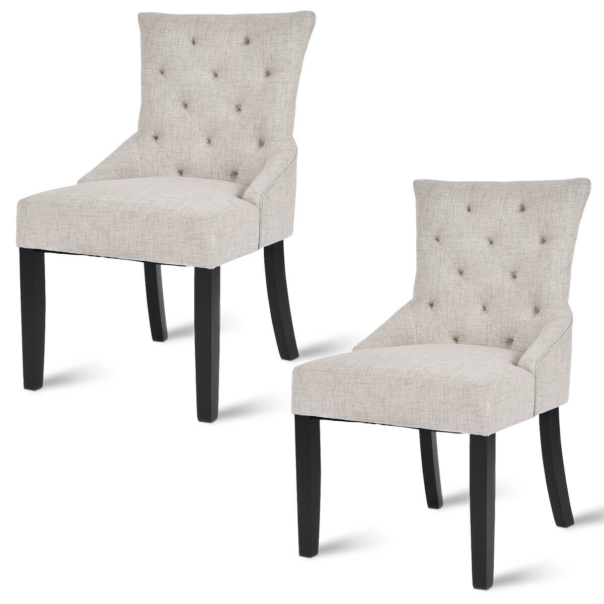 Costway Set of 2 Dining Chairs Armless Chair Tufted Design Fabric Upholstered Modern