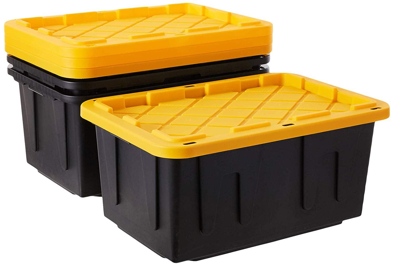 Homz Durabilt 27 Gallon Tough Container Black And Yellow