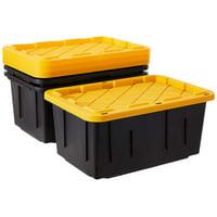Homz Durabilt 27 Gallon Tough Container, Black and Yellow, Set of 2