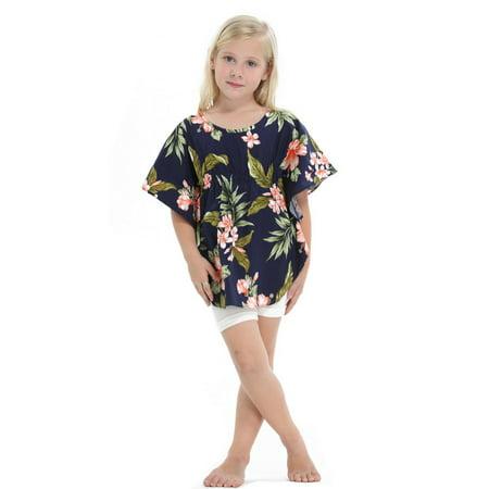 Made in Hawaii Girl Elastic Strap Hawaiian Luau Poncho Top in Navy with Pink Floral - Hawaiian Shirts For Girls
