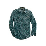 Tin Haul Western Shirt Mens L/S Snap Teal Brown 10-001-0064-0206 BR