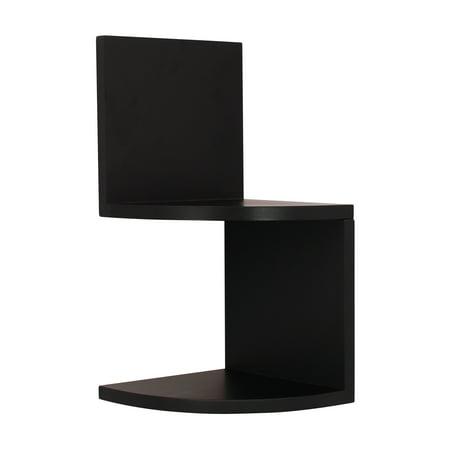 Kiera Grace Priva Set of 2 Black Corner Shelves, (2 Shelf Wall System)