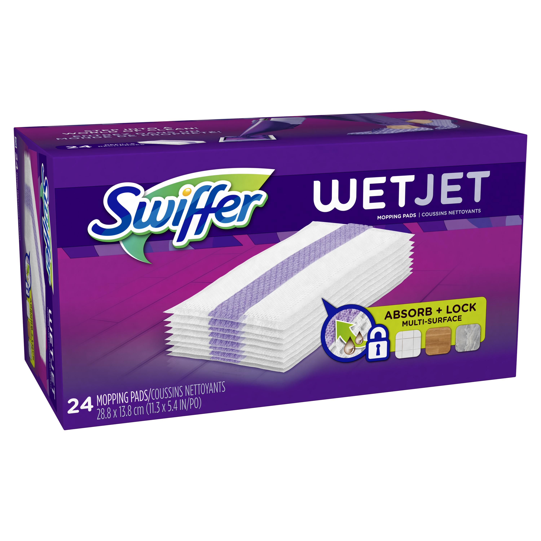 Swiffer WetJet Hardwood Floor Cleaner Spray Mop Pad Refill, Multi Surface, 24 Count