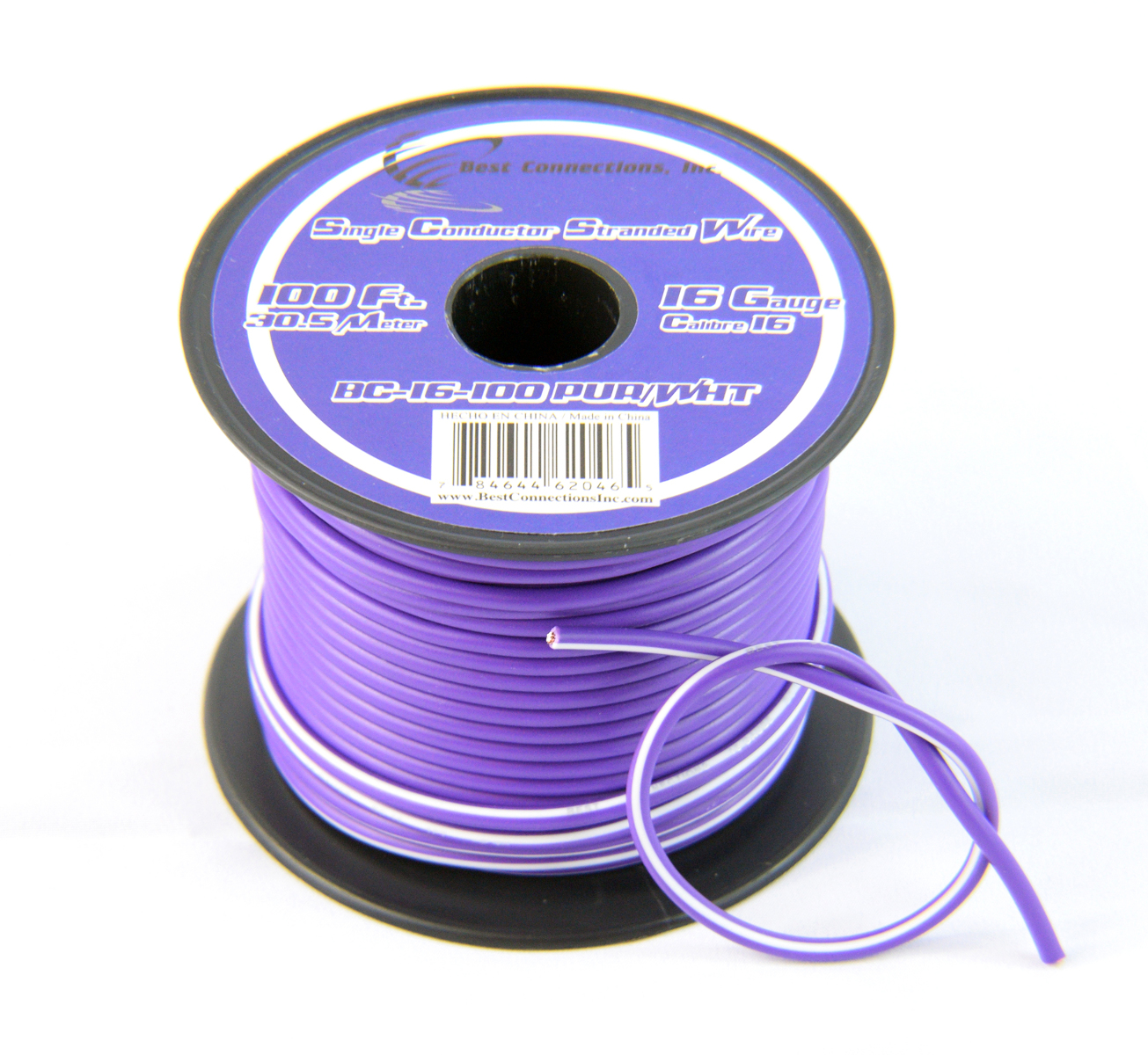 16 Gauge Purple with White Stripe Tracer Wire - 100' FT