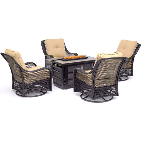 Hanover Orleans 5-Piece Fire Pit Chat Set with a 30,000 BTU Fire Pit Table and 4 Woven Swivel Gliders in Sahara Sand ()
