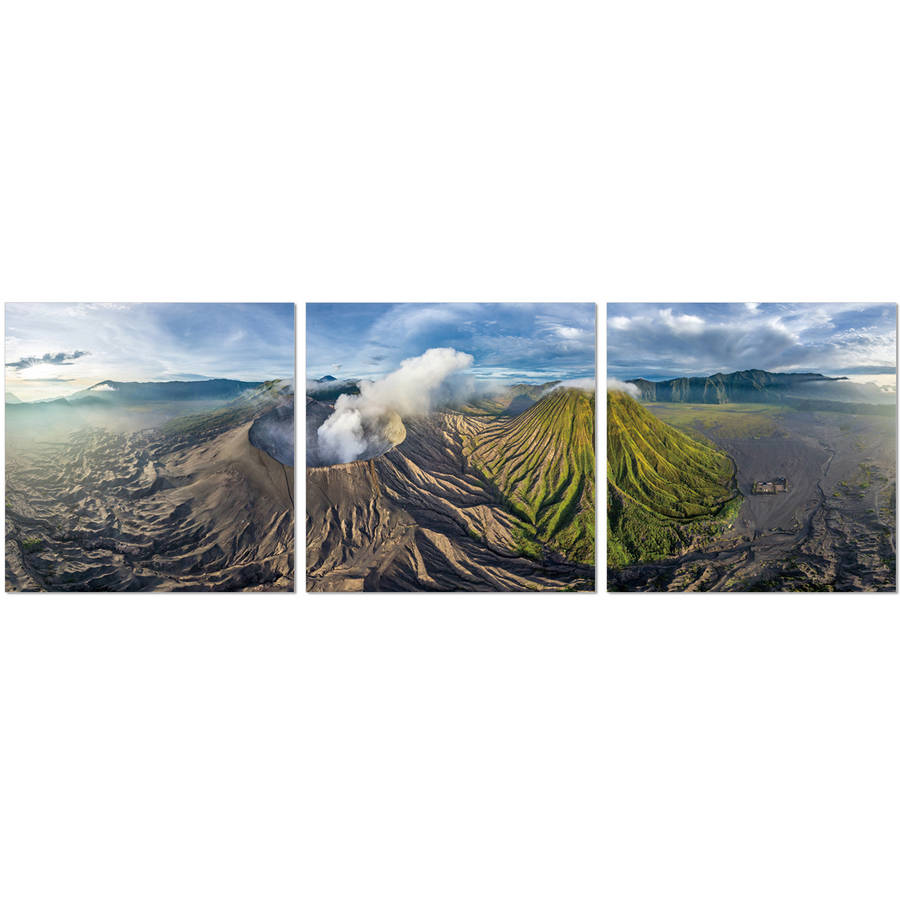 "Furinno SeniA Gunung Bromo 3-Panel MDF Framed Photography Triptych Print, 48"" x 16"""