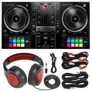 Hercules DJControl Inpulse 500 DJ Software Controller with Samson SR360 Over-Ear Dynamic Stereo Headphones and Essential Cables