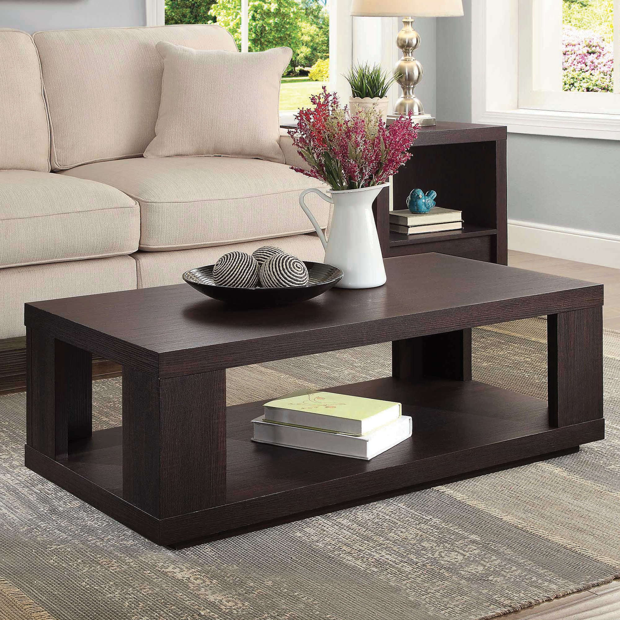 Better Homes & Gardens Steele Coffee Table with Spacious Lower Shelf, Espresso Finish by .